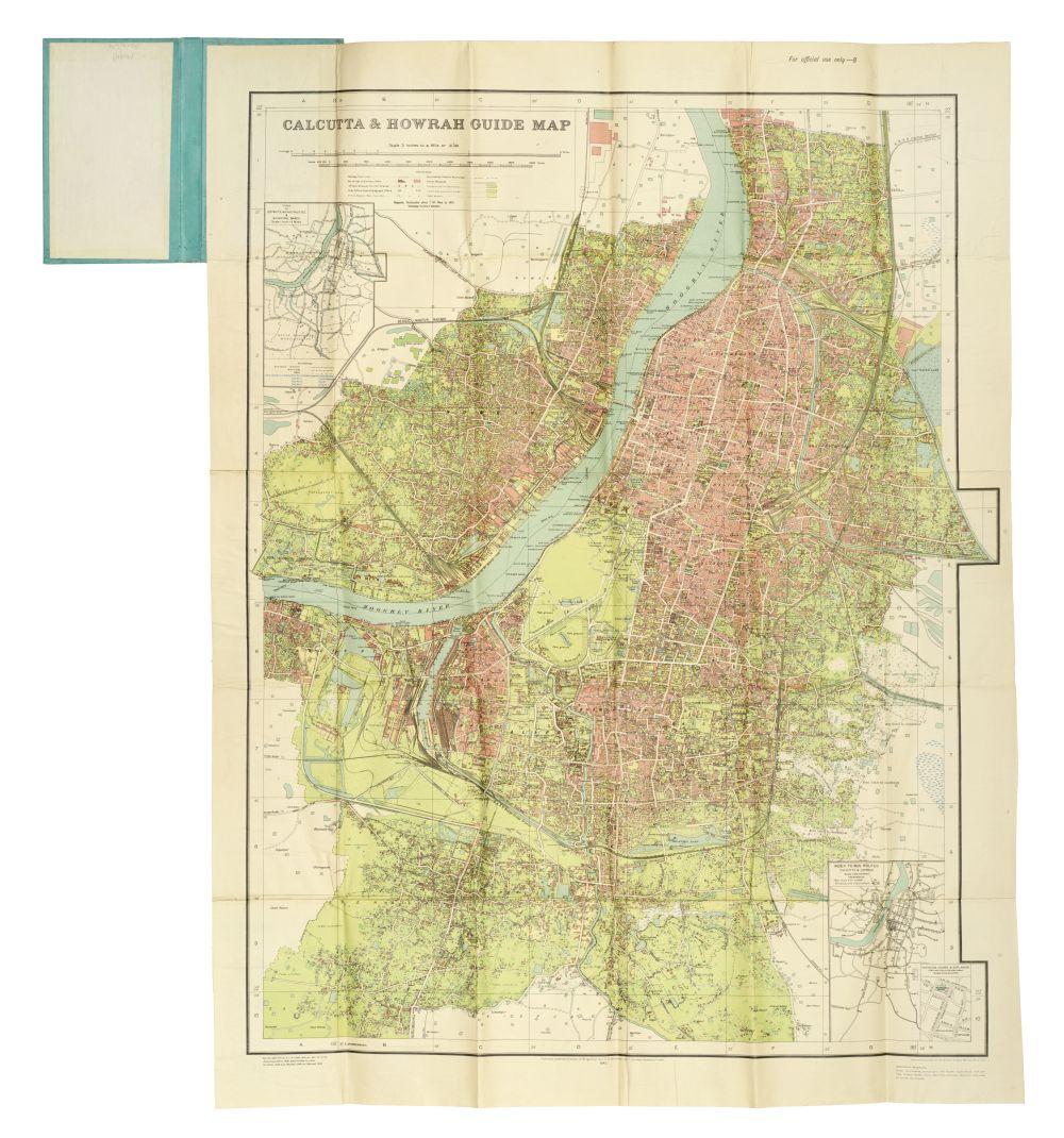 Calcutta and Howrah Guide Map. [Map. Calcutta] on